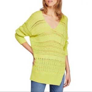 Free People Hot Tropics Lime Green V-Neck Sweater